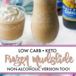 glasses of frozen mudslide with torani syrup and text overlay