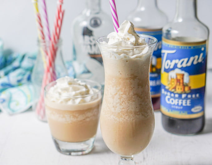 glasses of frozen mudslide with torani syrup and straws in background