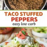 taco stuffed peppers with toppings and text