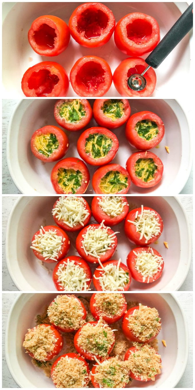 collage showing how to stuf tomatoes with cheesy egg mixture and gluten free topping