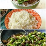collage of green bowl of ground beef and broccoli, skillet and bowl of rice with text overlay