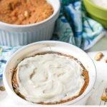 spoonful of carrot cake mug cake in ramekin with text overlay