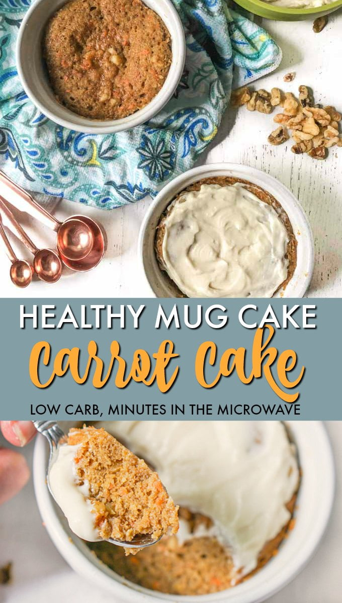 carrot cake mug cake in ramekin with text overlay