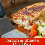 pan with bacon and cheese stuffed chicken breast and text overlay