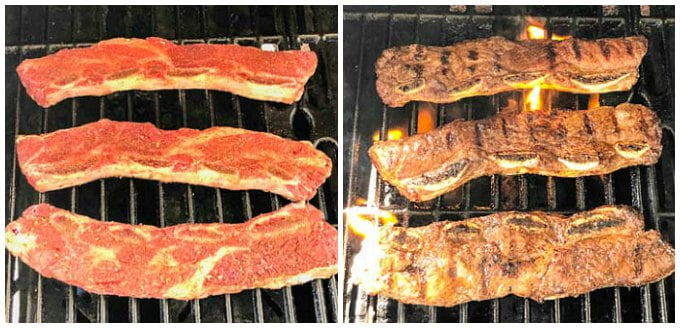 3 raw rbs on grill and 3 cooked on grill