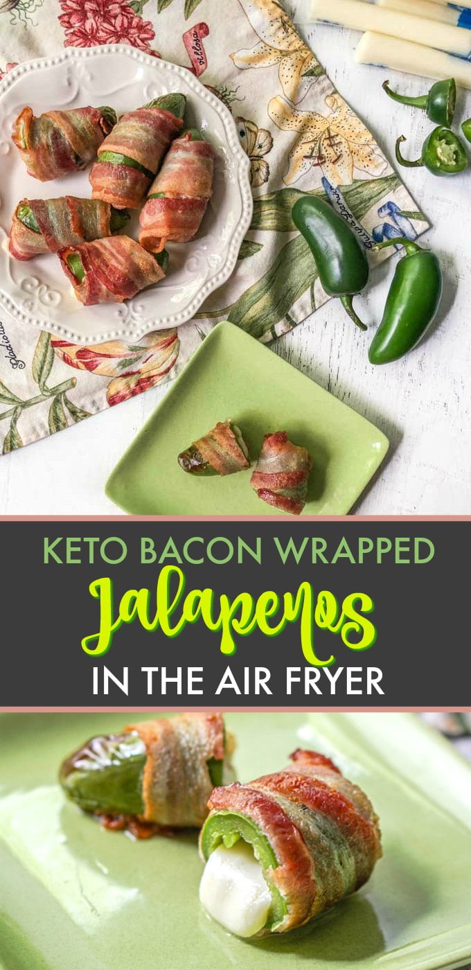 hand holding keto bacon wrapped jalapeno with text overlay