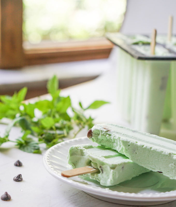 white plate with keto ice pops and fresh spearmint by the window