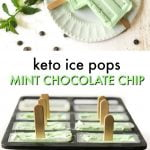 keto ice pops in mold and on plate with text overlay