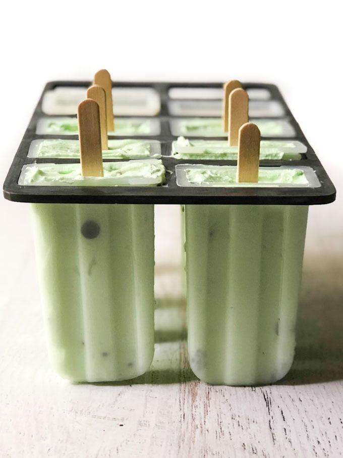frozen keto ice pops in popsicle mold