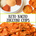 white plate with nacho spices and zucchini chips and text
