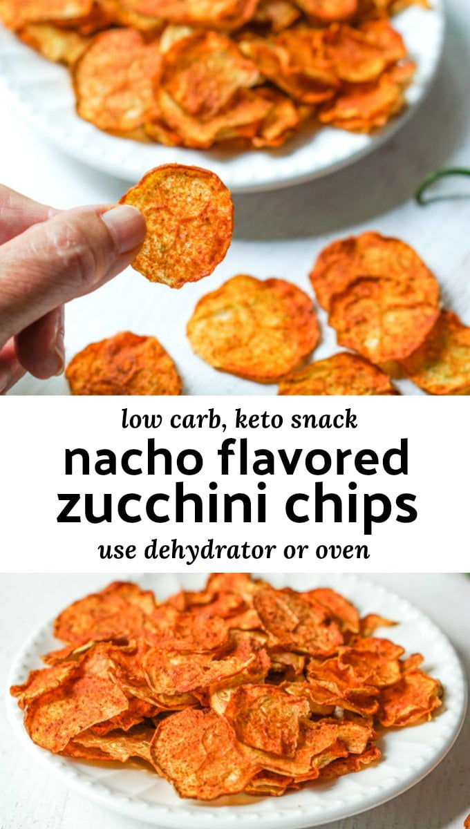 plates with zucchini chips on white plates with text overlay