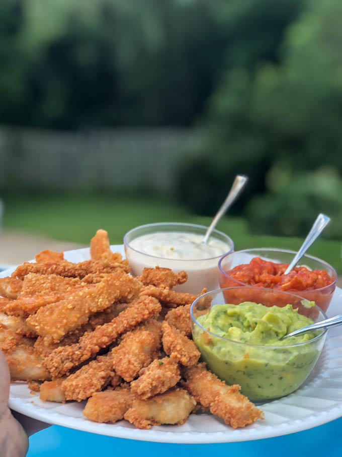 plate with fried pork chops strips and dipping sauce in outdoor setting
