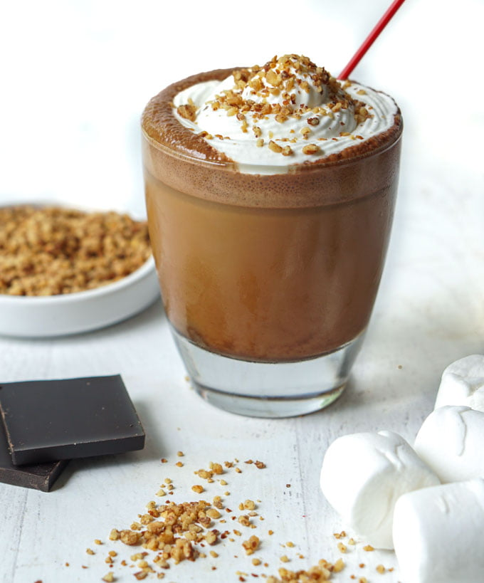 s'mores keto bulletproof iced coffee with marshmallows and dark chocolate and topping