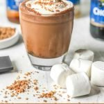 s'mores bulletproof coffee drink with marshmallows and text overlay