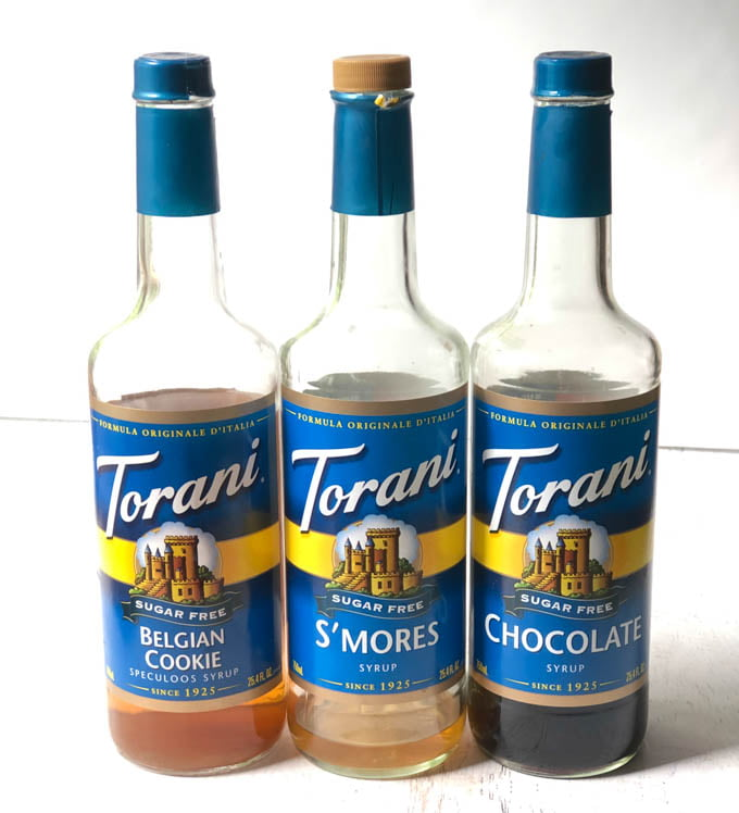 belgian cookie, s'mores, and chocolate Torani syrups