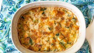 Low Carb Zucchini Au Gratin Casserole - easy summer side dish!