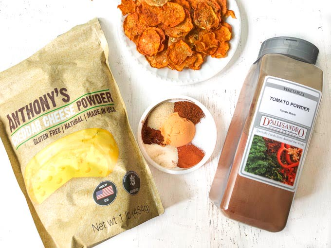 nacho spice blend with bag of cheddar cheese and tomato powder
