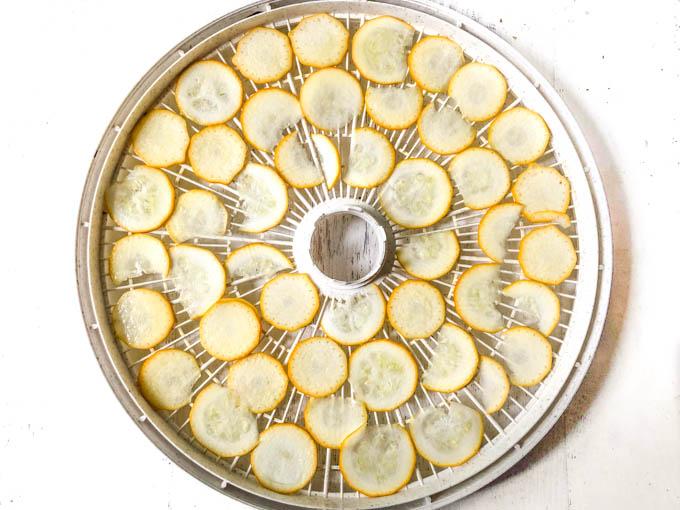 dehydrator tray with raw zucchini slices