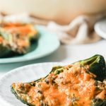 low carb stuffed poblano peppers with text overlay