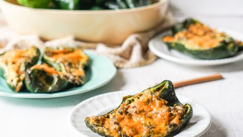 Low Carb Chicken Stuffed Poblanos – 4 ingredients in the Air Fryer