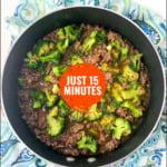 pan of keto beef and broccoli with text overlay