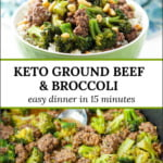 green bowl with ground beef and broccoli over cauliflower rice with text