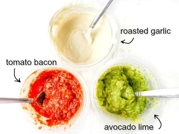 close up of 3 dipping sauces with text: roasted garlic, tomato bacon and avocado like dips