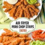 plate of fried pork chop strips and text overlay