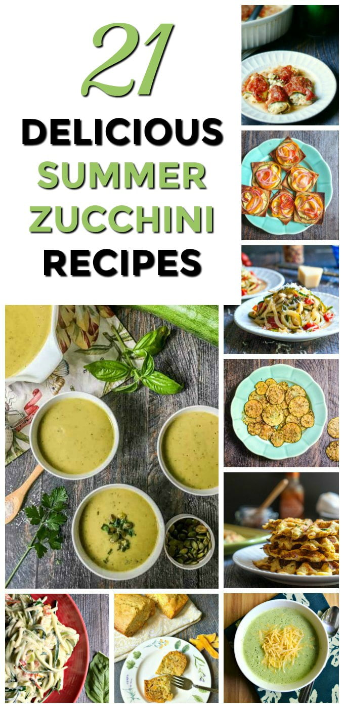 collage of zucchini recipes with text overlay