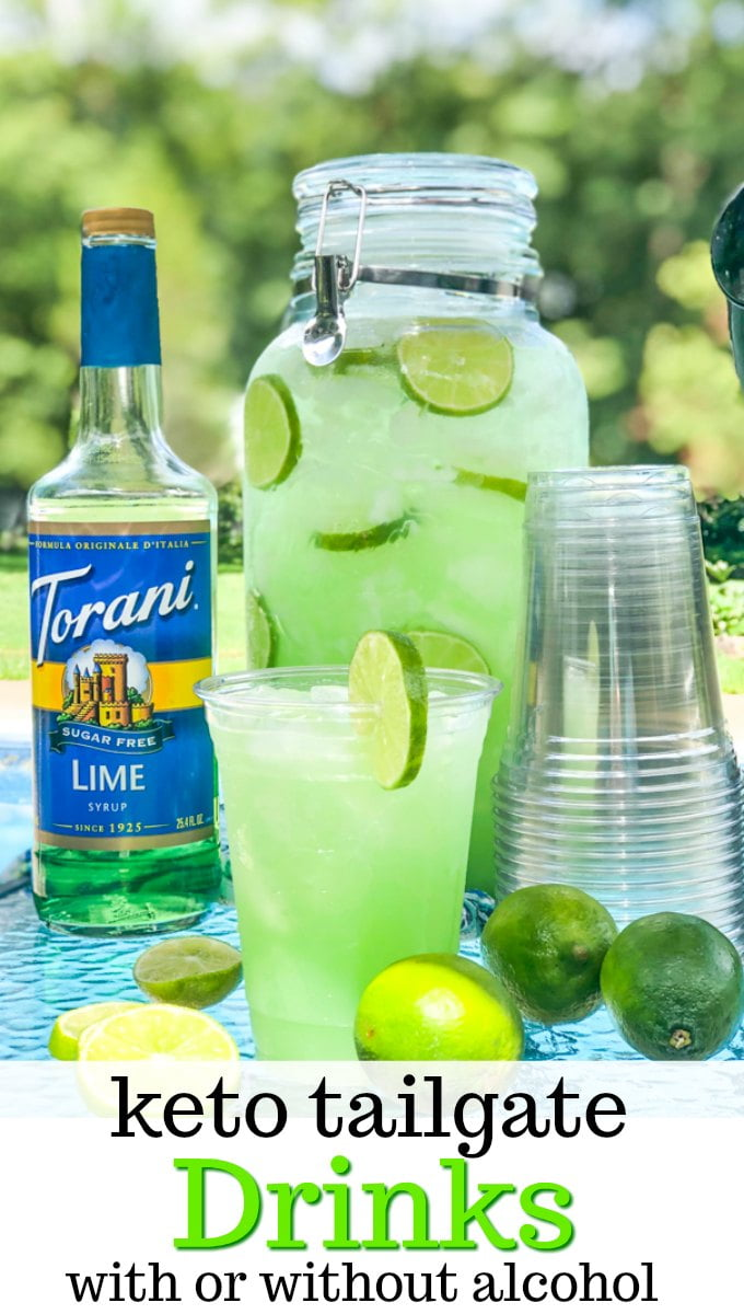 torani syrup, drink dispense and cup with keto tailgate drinks with limes outside