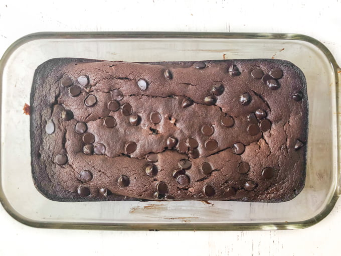 bread loaf pan with baked low carb chocolate zucchini bread