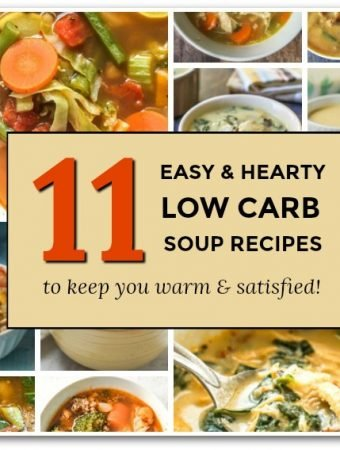 collage of low carb soups with text overlay