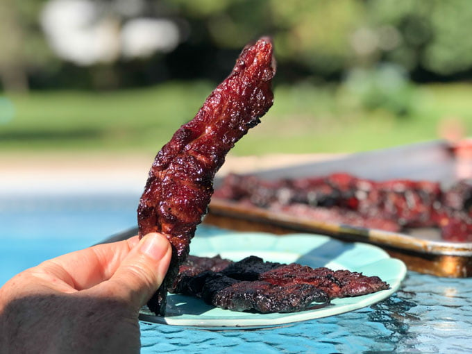 fingers holding a piece of jerky outside with a blue plate and tray with jerky on it in background