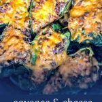 sausage & cheese stuffed poblanos in air fryer basket with text overlay