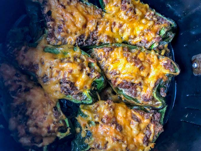 sausage & cheese stuffed poblanos cooked in air fryer basket