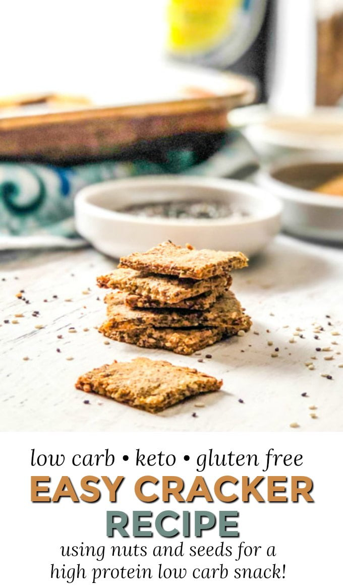 stack of low carb crackers with tray in background  and with text overlay