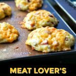 low carb biscuits on cookie trays with text overlay