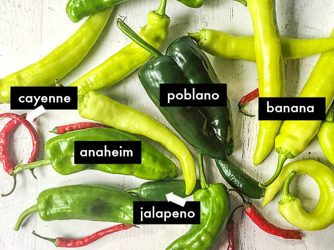 photo of garden peppers - poblano, jalapeno, banana and cayenne peppers with labels