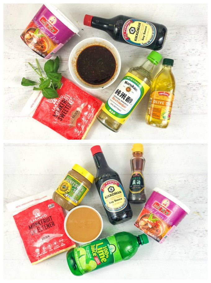 2 picture collage of ingredients for Thai marinade and low carb peanut dipping sauce
