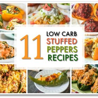 collage of low carb stuffed peppers with text overlay