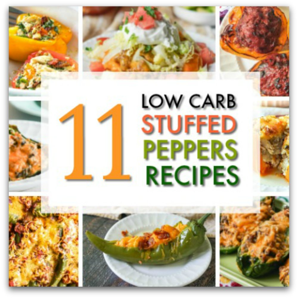 collage of low carb stuffed peppers and text overlay