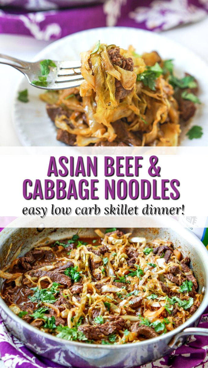 pan and plate of low carb beef & cabbage noodles with text overlay
