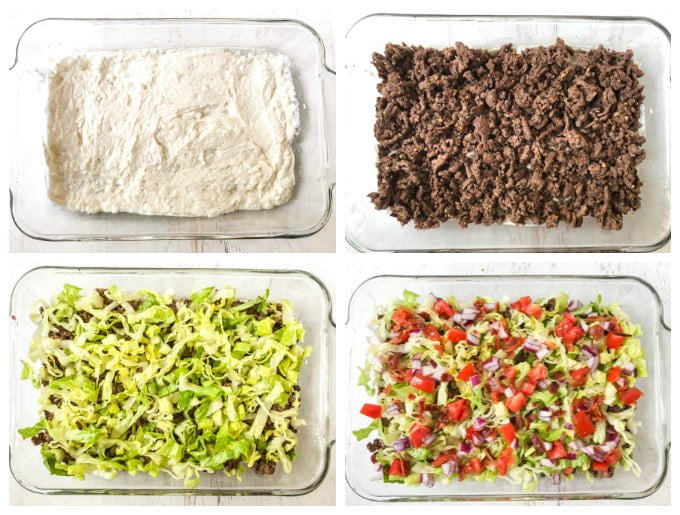 collage of how to make the layers of the keto hamburger dip