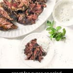 white platter and plate with slow cooker lamb roast and fresh herbs and text overlay