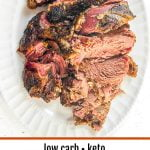 white platter with slow cooker lamb roast and text overlay