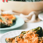 stuffed poblano with text