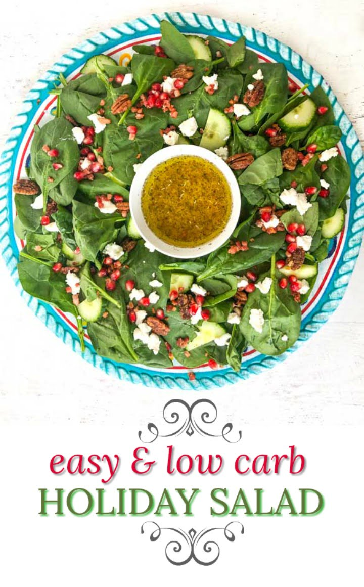 large round platter with low carb holiday salad and text overlay