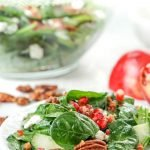 white plate with low carb holiday salad and text overlay
