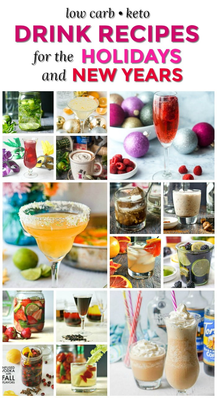collage of low carb drink pics with text overlay