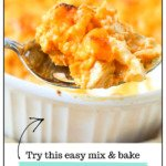 closeup of a spoonful of keto buffalo chicken casserole with text